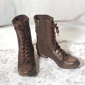 Shoes - Mixx Combat Boot Faux Fur Linning Brown Fabric Mix